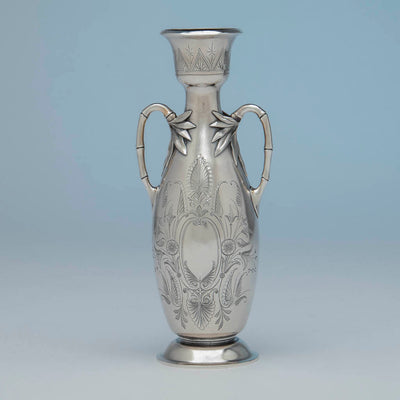 Reverse side of William Gale(attr) Antique Sterling Silver Vase, NYC, NY, c. 1870's