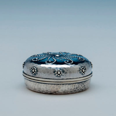 Side view of Whiting Antique Sterling Silver Nautical Design Round Box, New York, c. 1883