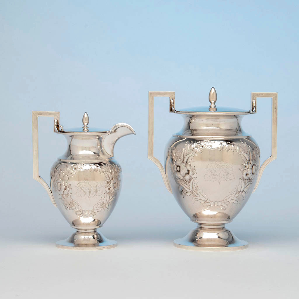 George Sharp Antique Sterling Silver Creamer and Sugar, Philadelphia, c. 1870