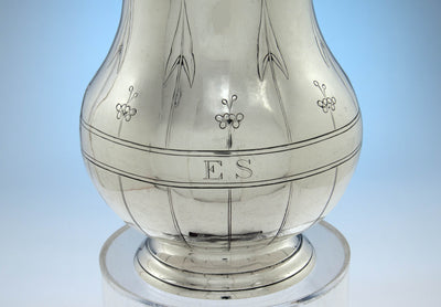 Monogram on Arthur Stone Arts & Crafts 'Arrowhead Leaf' Sterling Silver Water Pitcher, Gardner, MA, 1913