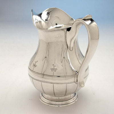 Handle to Arthur Stone Arts & Crafts 'Arrowhead Leaf' Sterling Silver Water Pitcher, Gardner, MA, 1913
