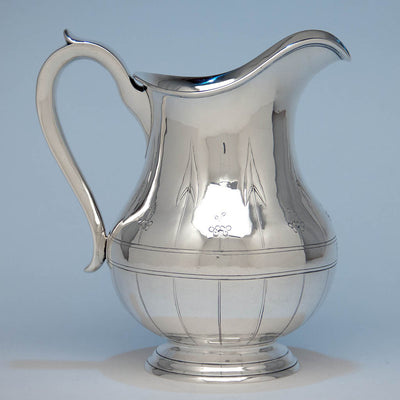 Arthur Stone Arts & Crafts 'Arrowhead Leaf' Sterling Silver Water Pitcher, Gardner, MA, 1913