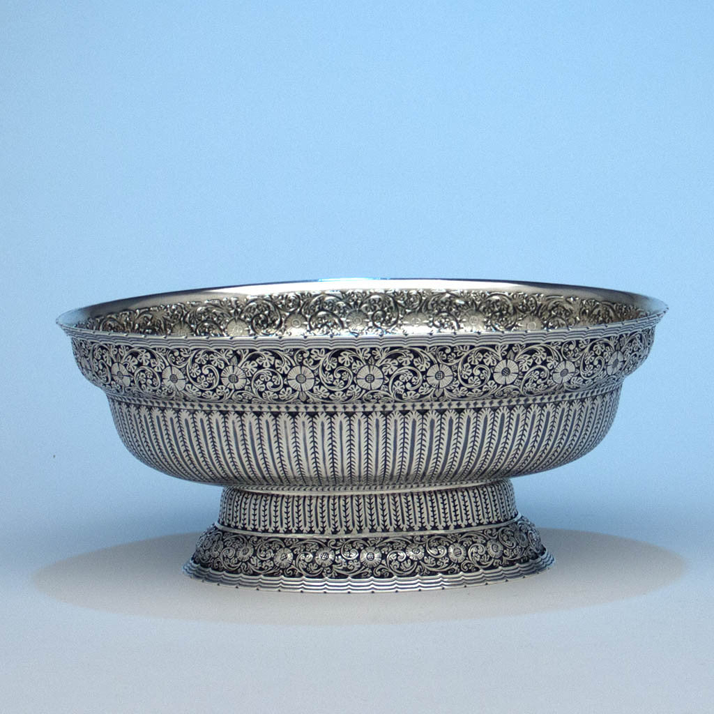 Whiting Persian Design Antique Sterling Silver Oval Centerpiece Bowl, c. 1880's