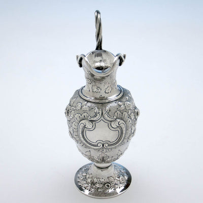 Front of Obiadiah Rich Antique Sterling Silver Cream Jug, Boston, MA, c. 1840