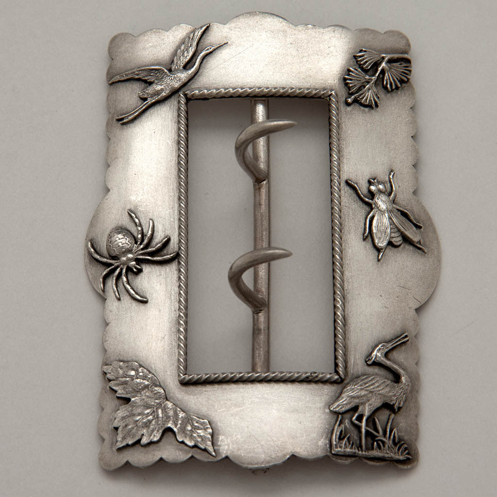 Shiebler Antique Sterling Silver Aesthetic Movement Buckle, New York City, c. 1885