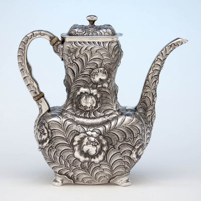 Coffee pot to Tiffany & Co 6-piece Aesthetic Movement Antique Sterling Silver Coffee Service in the Indo/Persian Taste, NYC, c. 1880