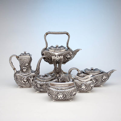 Tiffany & Co 6-piece Aesthetic Movement Antique Sterling Silver Coffee Service in the Indo/Persian Taste, NYC, c. 1880