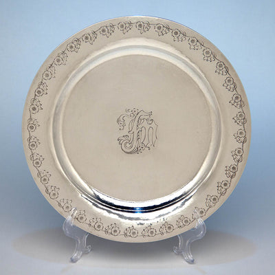 Single of the The Kalo Shop Arts & Crafts Sterling Chased Presentation Service Plates, Chicago, IL, 1915 set of 12