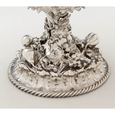 Base of William Forbes for Ball, Black & Co Antique Coin Silver Large Centerpiece/ Punch Bowl, New York City, 1852-62