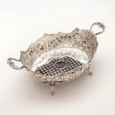 Angled view of the Andrew E. Warner 11oz Silver Bread or Fruit Basket, Baltimore, c. 1850s
