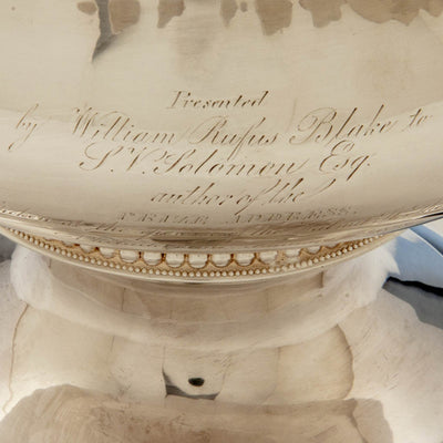 Inscription on Thibault & Brothers Antique Coin Silver Presentation Centerpiece or Punch Bowl, Philadelphia, 1828