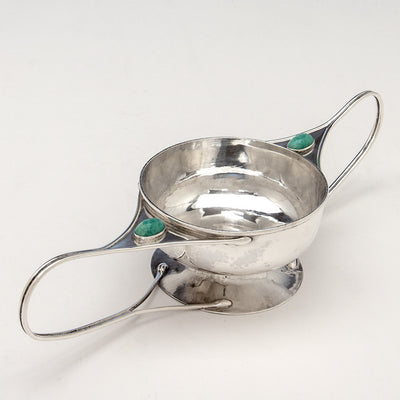 Angle view of Shreve, Crump & Low Co Arts & Crafts Sterling Silver and Semi-Precious Stone 2-handled Condiment Dish, Boston, c. 1905