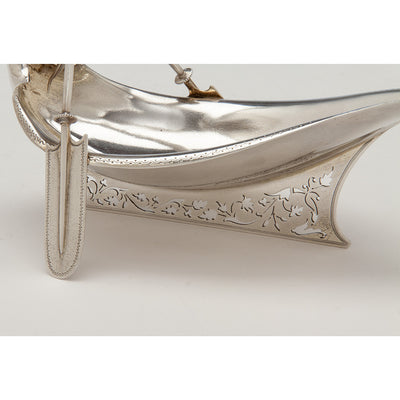 Base of Gorham Antique Sterling Silver Figural Pickle Dish, Providence, RI, 1875, of White House interest