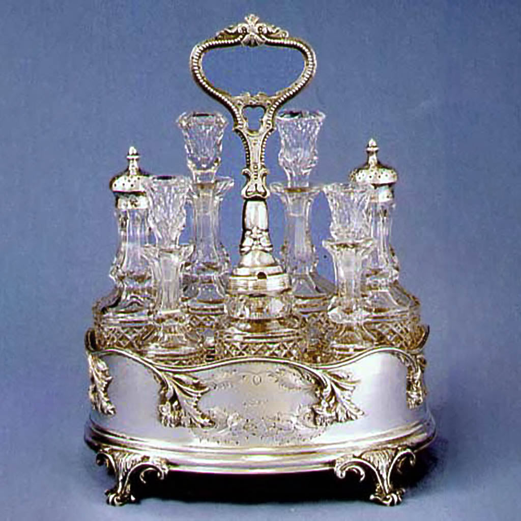 The Beals family coin silver Cruet Set, Bigelow, Bros. & Kennard, 1849
