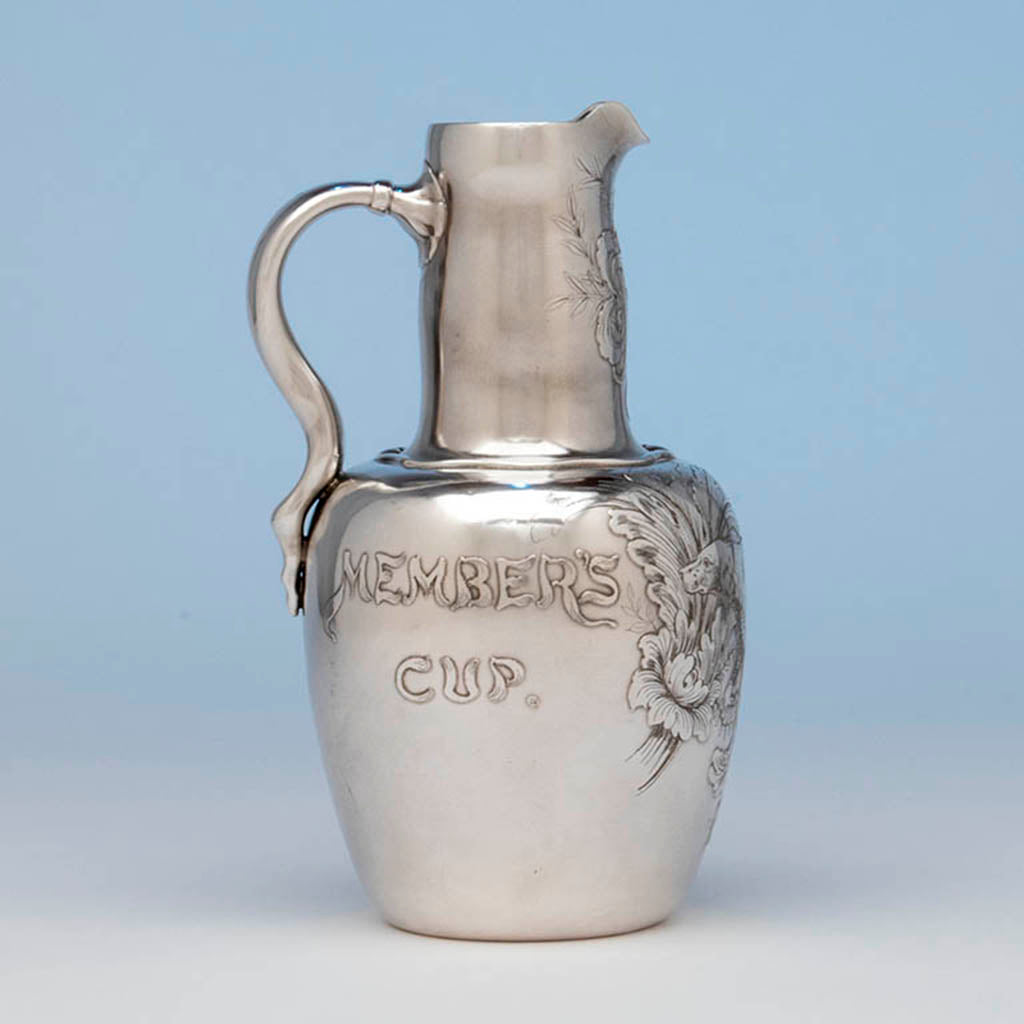 Whiting Antique Sterling Silver Sporting Trophy Flagon, NYC, 1883