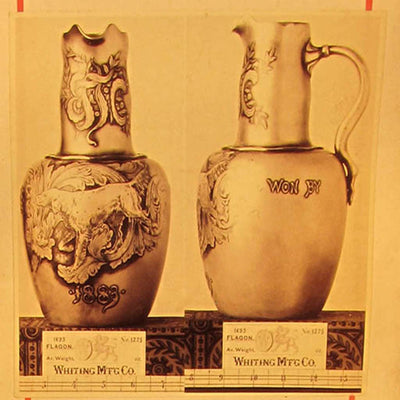 Archival photograph of Whiting Antique Sterling Silver Sporting Trophy Flagon, NYC, 1883