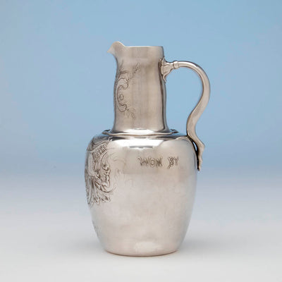 Side of Whiting Antique Sterling Silver Sporting Trophy Flagon, NYC, 1883