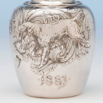 Front of Whiting Antique Sterling Silver Sporting Trophy Flagon, NYC, 1883