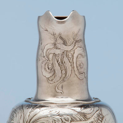 Spout on Whiting Antique Sterling Silver Sporting Trophy Flagon, NYC, 1883