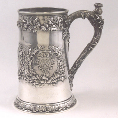Gorham Special Order Sterling Masonic Presentation Beer Mug c. 1894 from the St. Andrew's Lodge, Boston Presented to William L. Richardson