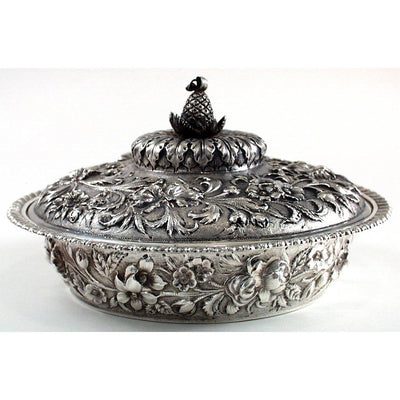 Jacobi & Co Sterling Repousse Entree Serving Dish, Baltimore, MD, c. 1880
