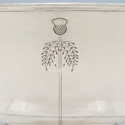 Chasing on Arthur Stone Arts & Crafts Sterling Silver Thistle Decorated Bowl, Gardner, MA, c. 1914
