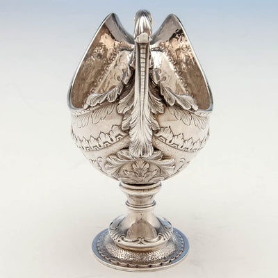 Back of Obadiah Rich Antique Sterling Silver Sauce Boat, Boston, MA, c. 1840's