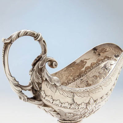 Handle to Obadiah Rich Antique Sterling Silver Sauce Boat, Boston, MA, c. 1840's