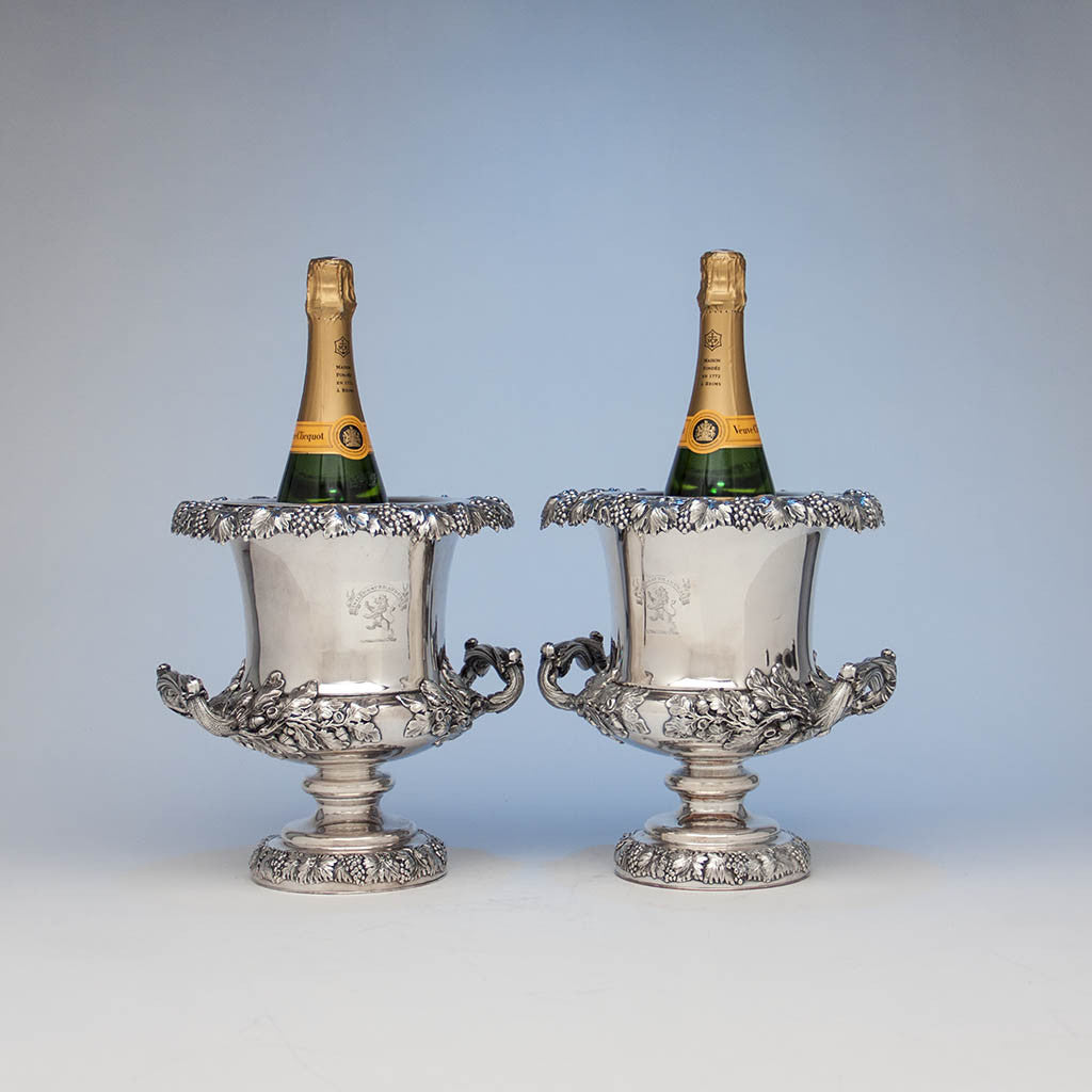 Antique Sheffield Plate Pair of Wine Coolers, England, c. 1820