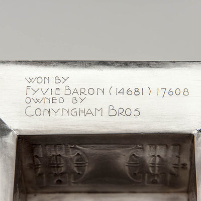 Winner inscription on Robert R. Jarvie Important Sterling Trophy, Chicago, 1913, design attributed to George Elmslie, awarded to Fyvie Baron, International Clydesdale Champion