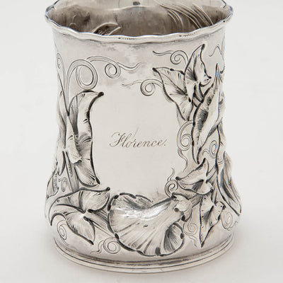 Front of John Chandler Moore Antique Coin Silver Large Child's Cup, New York City, c. 1848-49