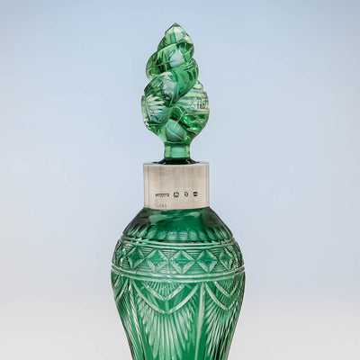 Finial to Johnson, Durban & Co Sterling Collar, Birmingham, 1897/98, with Williams & Stevens (attr.) Green Cut to Clear Glass Decanter