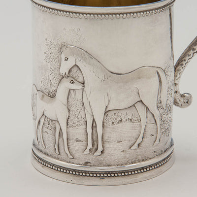 Detail of horses on Wood & Hughes Antique Coin Silver Figural Child's Mug, NYC, c. 1845-50