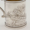 House scene on Wood & Hughes Antique Coin Silver Figural Child's Mug, NYC, c. 1845-50