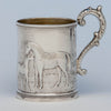 Wood & Hughes Antique Coin Silver Figural Child's Mug, NYC, c. 1845-50
