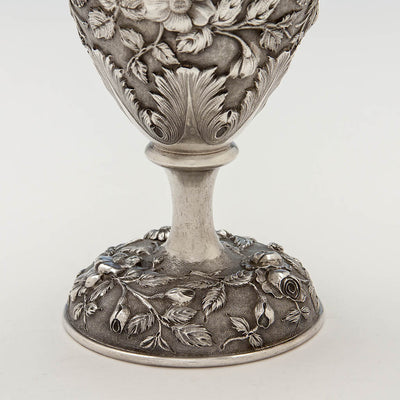 Base of Loring Andrews Antique Sterling Silver Repoussé Vase, Cincinnati, OH, 1895-1903