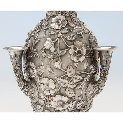 Side of Loring Andrews Antique Sterling Silver Repoussé Vase, Cincinnati, OH, 1895-1903