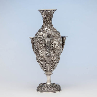 Loring Andrews Antique Sterling Silver Repoussé Vase, Cincinnati, OH, 1895-1903
