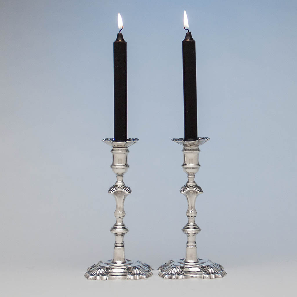 Simon Jouet Pair of George II Antique Sterling Silver Candlesticks, London, 1748/49