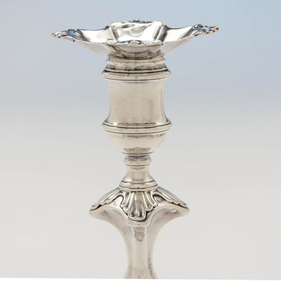 Socle to Simon Jouet Pair of George II Antique Sterling Silver Candlesticks, London, 1748/49