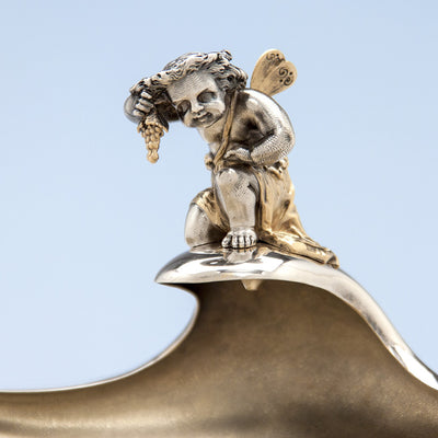 Cherub detail on Gorham Antique Sterling Silver Figural Berry Dish, Providence, RI, 1872