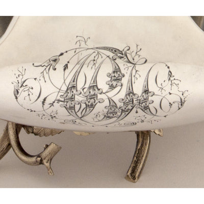 Monogram on Gorham Antique Sterling Silver Figural Berry Dish, Providence, RI, 1872