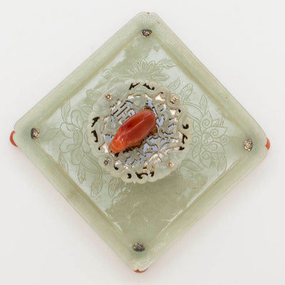 Top view of Edward Farmer Sterling, Jade and Carnelian Inkwell, NYC, c. 1920's