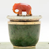 Elephant on Edward Farmer Sterling, Jade and Carnelian Inkwell, NYC, c. 1920's