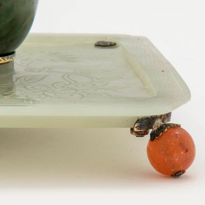 Foot to Edward Farmer Sterling, Jade and Carnelian Inkwell, NYC, c. 1920's