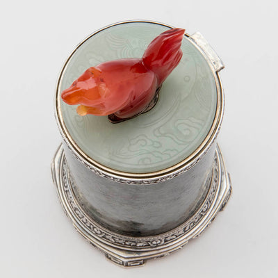Jade of Eleder-Hickok Co Sterling Mounted Japanese Container, Newark, NJ, c. 1920's
