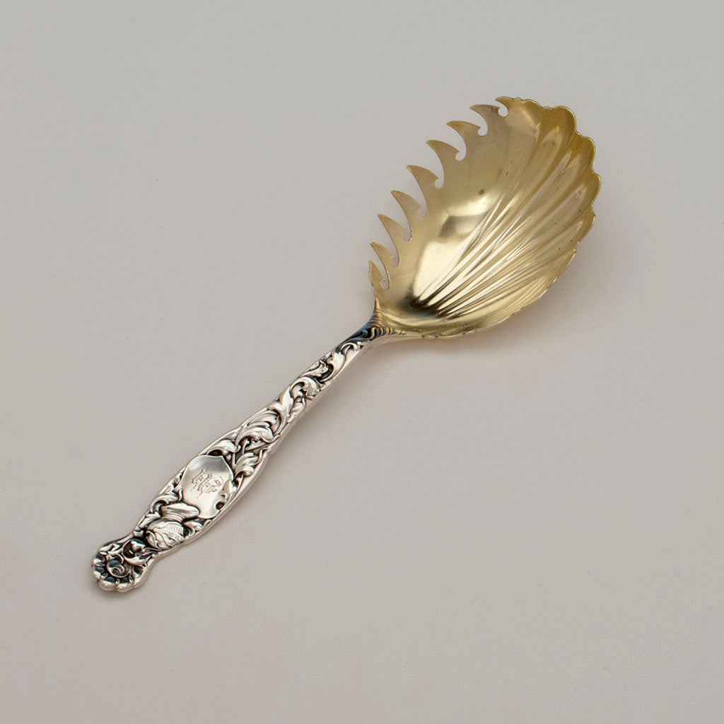 Whiting Heraldic Pattern Sterling Macaroni Server, NYC, c. 1890s