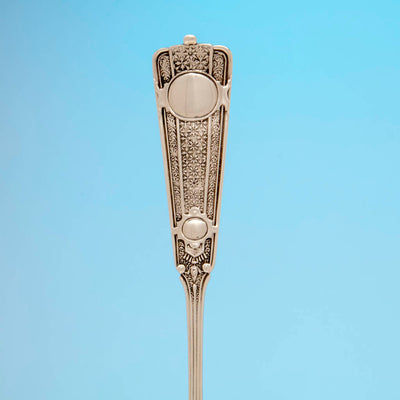 Handle to John Wendt 'Ribbon' Pattern Antique Sterling Silver Ice Spoon, NYC,  c. 1875