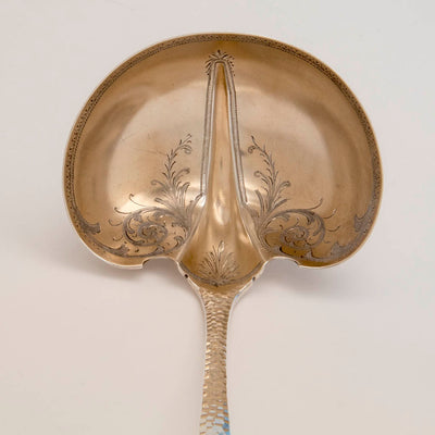 Bowl of Schulz and Fischer Antique Sterling Silver Soup Ladle, San Francisco, CA, c. 1880s