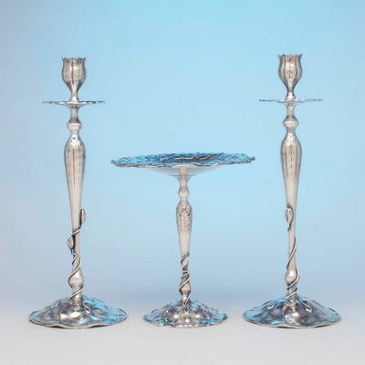 Shreve & Co Lily Pad Antique Sterling Silver Suite, San Francisco, CA, c. 1905